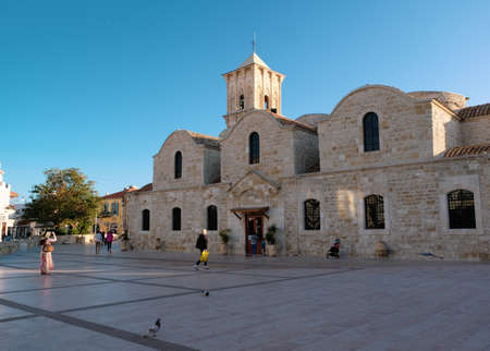 People visiting Saint Lazarus Church in Larnaca, Cyprus