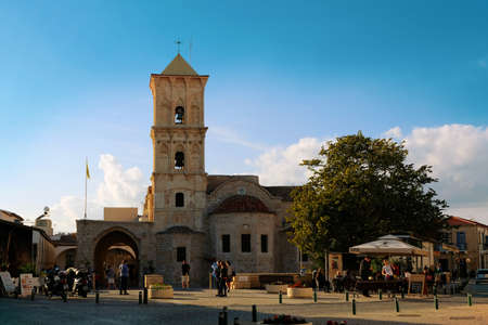 Sunny day in Larnaca. People visiting Saint Lazarus Church Redactioneel