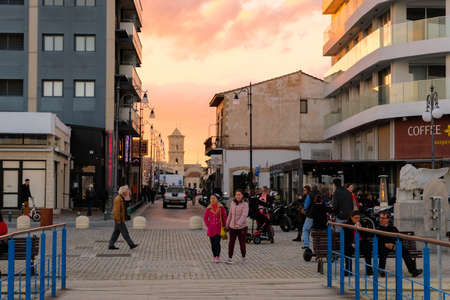 Larnaca city center in sunset light. View towards Saint Lazarus Church