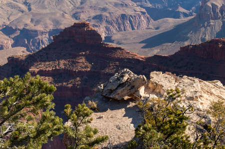 Rock formations at the Grand Canyon in afternoon light