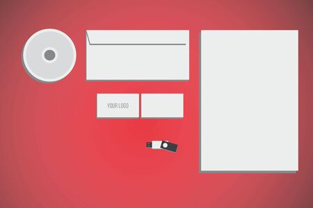 mock up: branding identity mock up with red background