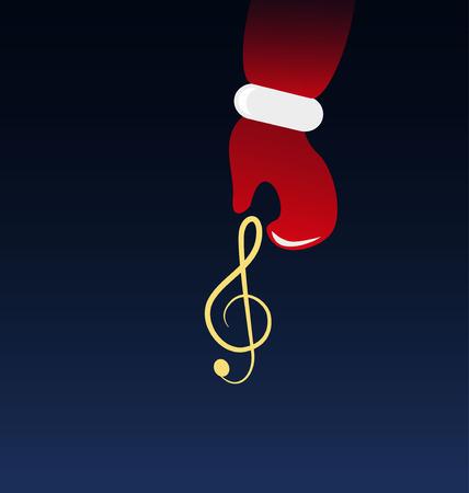 clave sol: Santa Claus sosteniendo una clave de sol Vectores