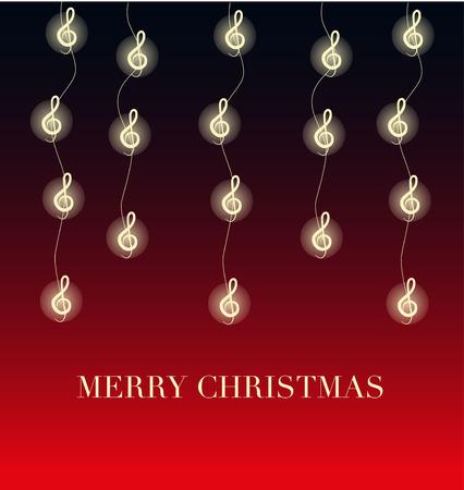 clave sol: Fondo de Navidad con luces en forma de clave Vectores