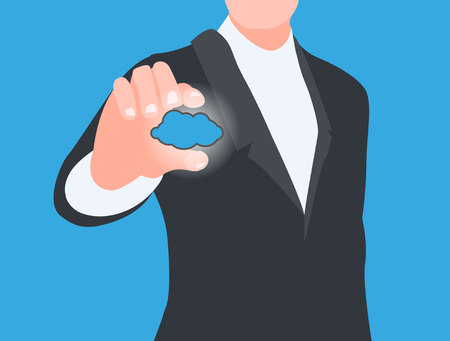 corporate image: work in the cloud concept Illustration