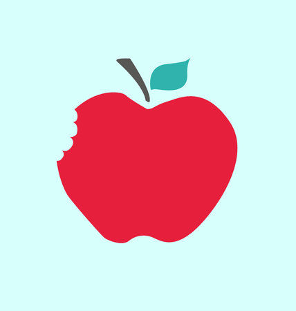 apple bite: Red Apple with bite
