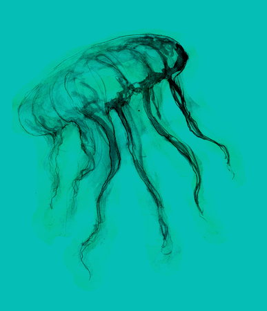 cramping: jellyfish turquoise background