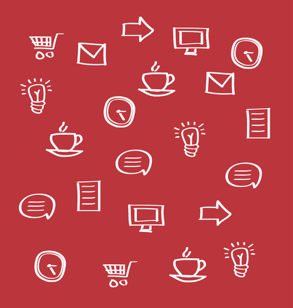 billing: Business icons on red background Illustration