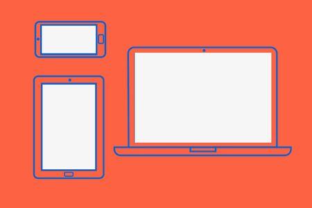 flat: responsive flat mockup Illustration