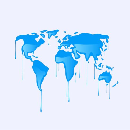 Drawing of a map of the world melting