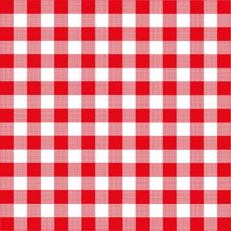 Rood en wit geruite tafelkleed Stock Illustratie