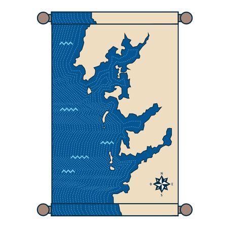 Parchment of a map Ilustrace