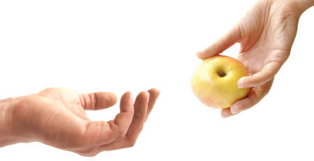 adam:  a female hand is stretching an apple to a male hand. Stock Photo