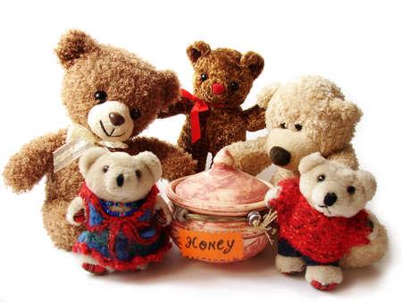 osos de peluche y miel                          Foto de archivo