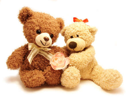 couple of teddy-bears & rose                         photo
