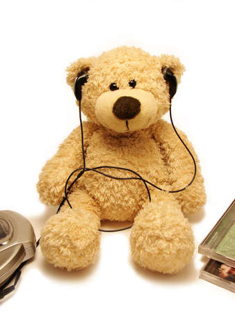 jovial:       teddy-bear listening music