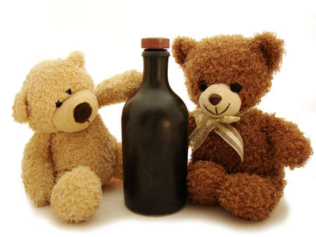 osos de peluche: osos de peluche & botella