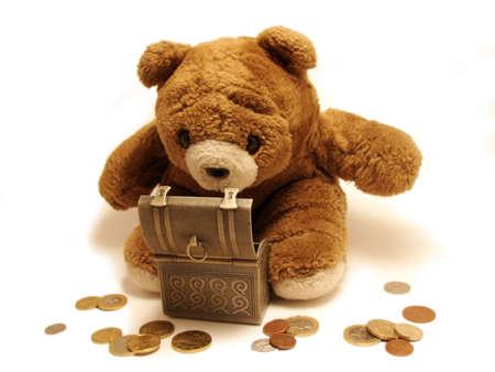 playthings:  Teddy-bear &savings euro Stock Photo