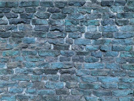 Grunge blue brick wall texture