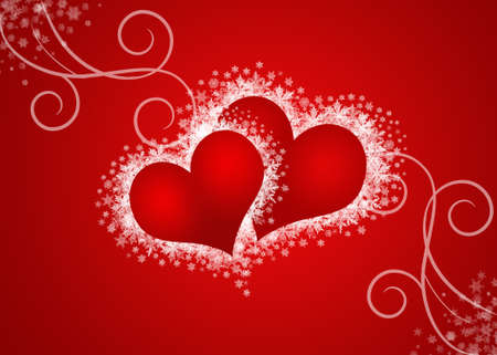 two abstract hearts in red background
