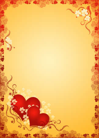 wedding couple silhouette: valentines hearts in golden blank Stock Photo