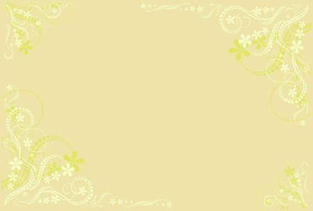 pale ocher: pale ocher floral blank Stock Photo