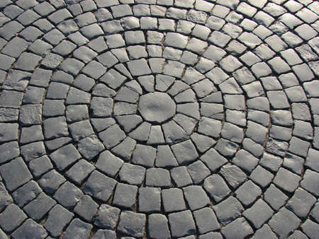a pert of a cobble street as a circle