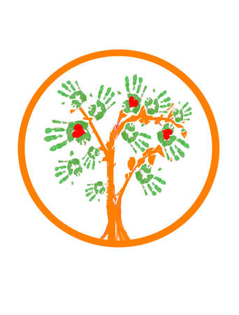 A logo which includes an abstract tree with the leafs in the form of handprints and some red hearts inside them.