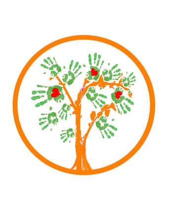 Un logo che comprende una struttura ad albero astratto con le foglie a forma di impronte di mani e alcuni cuori rossi al loro interno.