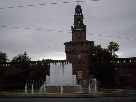 sforza: Sforza Castle and Fountain, Milan Italy