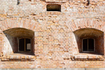 Two windows of the old brick fortress in the Kyiv