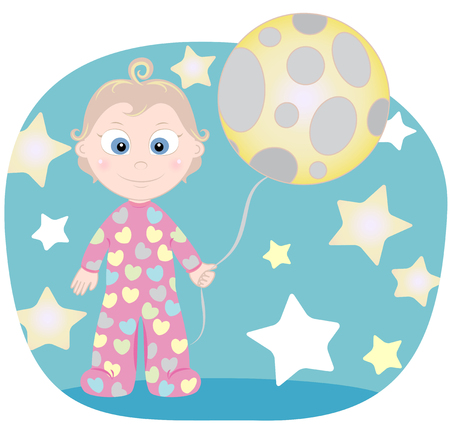 night suit: child with The Moon and stars in the night Illustration