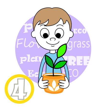 safe world: illustration of a cute Boy and plant