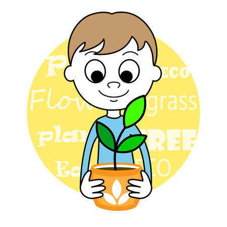 young schoolchild: illustration of a cute Boy and plant