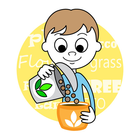 young schoolchild: illustration of a cute Boy planting seed Illustration