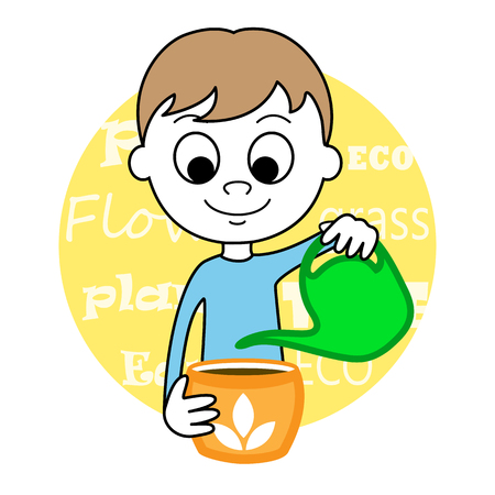 child care: illustration of a cute Boy wattering plant