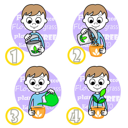 young schoolchild: illustration of a cute Boy planting flower