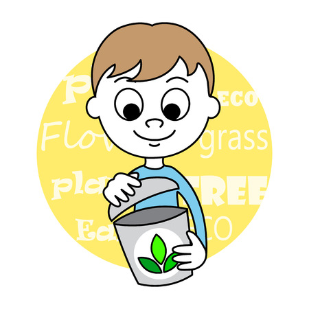 young schoolchild: illustration of a cute Boy and seed Illustration