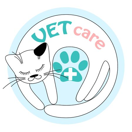 cat call: illustration of the funny cat for your vet clinic