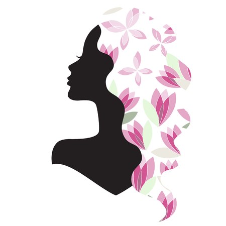 nice hair: silhouette of the nice girl with beautiful hair and flowers