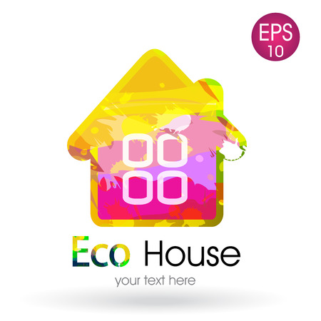eco notice: Bright icon of the eco house