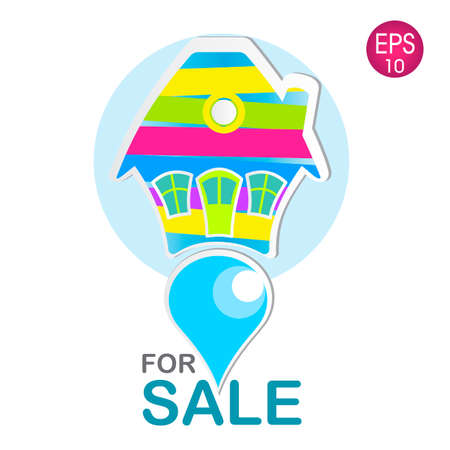 house for sale: illustration of the colorful house for sale