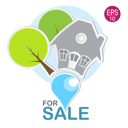 house for sale: illustration of the house for sale
