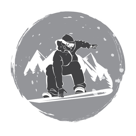 free riding: illustration of snowboarder free riding in the mountains
