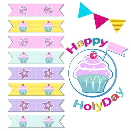 holyday: Vector set of Flags for cupcakes. Cupcakes decoration