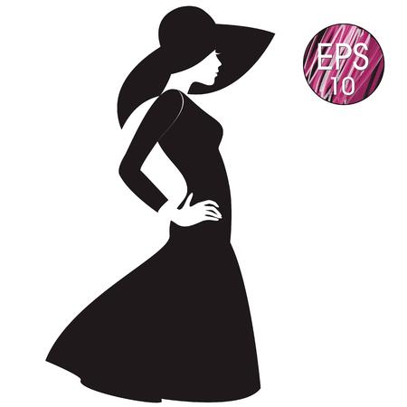 De vector vrouw silhouet in zwarte hoed en zwarte kleding