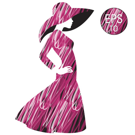 vector womans silhouette in fashion hat Illustration