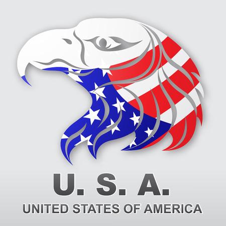 アメリカン ・ イーグル。アメリカの国旗。あなたの設計のための株式ベクトル図