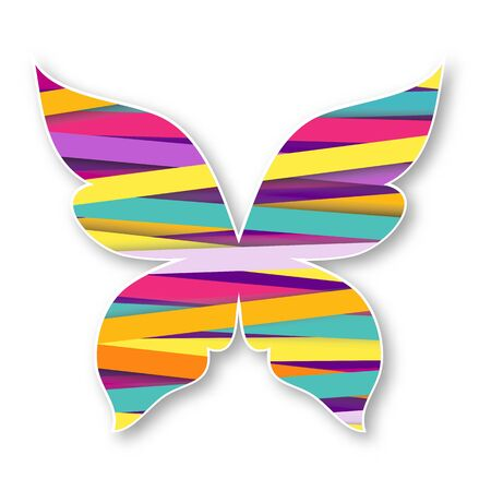 butterfly isolated: Isolated multicolor butterfly. Paper butterfly for your design Illustration