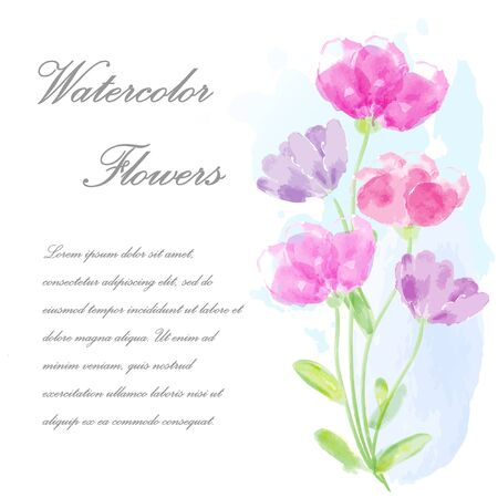 disign: Watercolor invitation with flowers for your disign