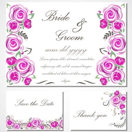 invitación con rosas de color rosa para su disign